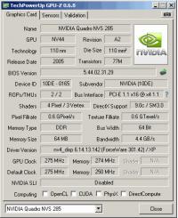Quadro q283 DDR1 GPUZ